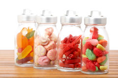 Vasi di vetro delle caramelle Fotografia Stock