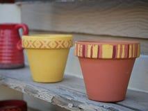 Vasi dipinti di terracotta fotografia stock