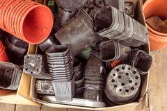 Vasi e contenitori di plastica riciclati sporchi della pianta in cartone BO Immagini Stock