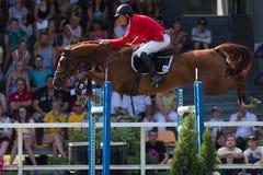 Vasil Ivanou mit dem Pferd Chiort Poberi Lizenzfreie Stockfotografie