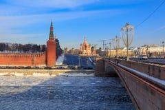 Vasil`yevskiy Spusk on Red square in Moscow. View from Bol`shoy Moskvoretskiy bridge Royalty Free Stock Photos