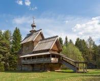 Vasilevo, dichtbij Torzhok. Museum van houten architectuur. Kerk van Transformatie (Stijging) stock afbeeldingen