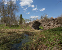 Vasilevo, Torzhok. Bouldery stone arch Bridge (Chertov Bridge) Stock Image