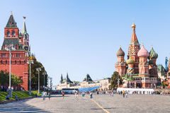 Vasilevsky Descent and Red Square in Moscoq Stock Photo