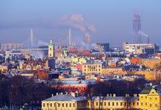Vasilevsky Island and Lakhta Center bird-eye-view in Saint-Peter Stock Photos