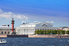 Vasilevsky island and Rostral columns. Royalty Free Stock Image