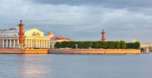 Vasilevsky Island, Rostral Columns, the old Stock Exchange building. Saint-Petersburg, Russia Royalty Free Stock Images