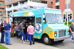 Vasili's food truck. Selling high end Greek food to office workers in the urban center of Calgary stock images