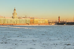 Vasilievsky island and Kunstkammer winter morning in St. Petersb Royalty Free Stock Photos