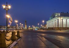 Vasilievsky Island at Night Stock Photo