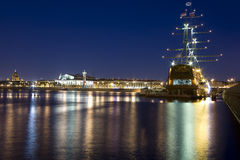 Vasilievsky Island. Night view of the city islands and Neva River, St. Petersburg, Russia stock photo