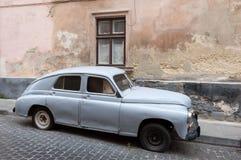 Vasilievsky Island spitSoviet Pobeda car Royalty Free Stock Image