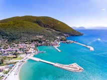 Vasiliki town in Lefkada Island Greece. Greek Island Lefkada in the Mediterranean Sea is a well known tourist destination for the summer and is also known by royalty free stock photo