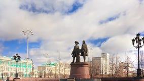 Vasily Tatischevv and Wilhelm de Genin. Zoom. Yek. Monument to Vasily Tatischev and Wilhelm de Gennin located in Ekaterinburg at the Plaza Labor. was established stock footage