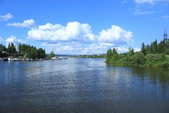 The Vasilyevka river in Perm. Small Vasilyevka river at the border of Perm city. Fishing and tourism place Stock Photo