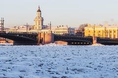 Vasilyevsky island and palace bridge early winter morning in St. Royalty Free Stock Photos