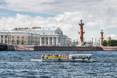 Vasilyevsky Island in summer day Royalty Free Stock Photo