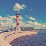 Vasilyevsky Island in summer day . Royalty Free Stock Images