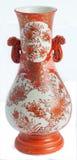 Vaso alaranjado e branco do Satsuma Fotografia de Stock Royalty Free