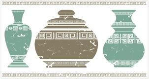 Vaso antigo com o ornamento geométrico grego Fotos de Stock Royalty Free