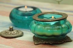 Vaso bonito, vela no estilo oriental. Imagem de Stock Royalty Free
