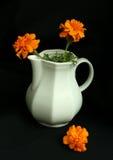 vaso branco com flores amarelas em um backgr preto Imagem de Stock Royalty Free