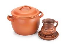 Vaso, brocca e piattino di argilla Immagini Stock