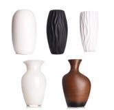 Vaso ceramico alto bianco moderno, oggetto della decorazione isolato su wh Fotografie Stock Libere da Diritti