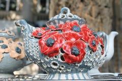 Vaso ceramico di arte della decorazione dell'uccello Immagine Stock Libera da Diritti