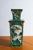 Vaso chinês com desenho da paisagem Foto de Stock Royalty Free