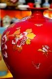 Vaso cinese rosso Fotografie Stock