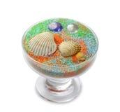 Vaso com areia do mar Fotografia de Stock