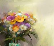 Vaso com vida imóvel um ramalhete da pintura das flores Imagem de Stock Royalty Free