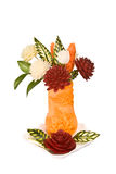 Vaso con i fiori dalle verdure Fotografie Stock