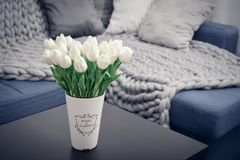 Vaso con i tulipani e lo strato bianchi Immagini Stock