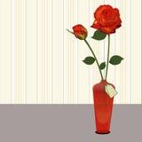 Vaso con il regalo delle rose Fotografia Stock