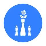 Vaso con l'icona del fiore isolata su fondo bianco Azione di simbolo del ristorante Fotografia Stock