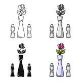 Vaso con l'icona del fiore nello stile del fumetto isolata su fondo bianco Illustrazione di vettore delle azione di simbolo del r Immagini Stock