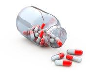 Vaso con le pillole Fotografie Stock
