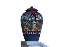 Vaso d'annata con gli ornamenti Fotografie Stock