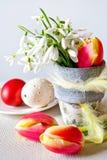 Vaso da fiori con i bucaneve ed i fiori bianchi dei tulipani e le uova perforate bianche decorate sui precedenti bianchi Fotografia Stock Libera da Diritti