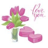 Vaso de flor e dois corações cor-de-rosa Ícone isolado do vaso de flor no fundo branco Vaso das flores Pique tulips Estilo liso I Imagem de Stock