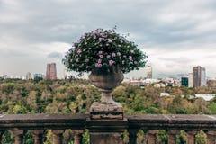 Vaso de pedra nos trilhos da escadaria velha Fotos de Stock Royalty Free