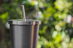 Vaso del acero inoxidable/color de la plata Foto de archivo libre de regalías