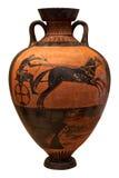 Vaso del greco antico che descrive un vagone per il trasporto dei lingotti Immagine Stock