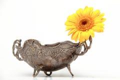 Vaso del metallo con le gerbere Fotografia Stock Libera da Diritti