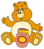 Vaso del miele e dell'orso Immagine Stock
