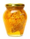 Vaso del miele isolato Fotografie Stock