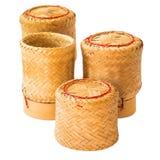 Vaso del riso appiccicoso isolato fotografia stock