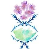 Vaso dell'acquerello con l'illustrazione di vettore dei fiori Fotografie Stock Libere da Diritti